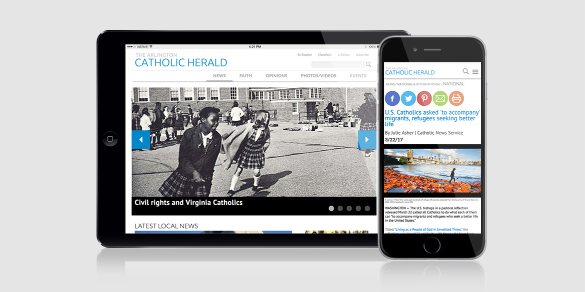 Web Design for Arlington Catholic Herald